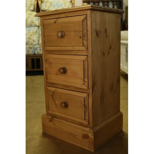 Tall Bedside Tables Waxed Solid Pine 3 Drawer Tall Pine Bedside Cabinet  Kennedys .