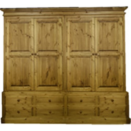 Waxed Solid Pine 8ft Double Drawer Stack Pine Wardrobe Kennedys