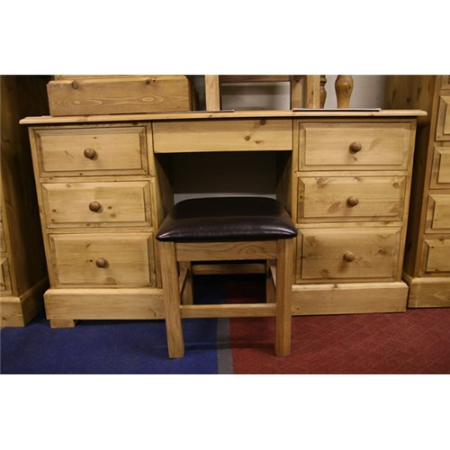 Waxed Solid Pine 7 Drawer Pine Dressing Table / Desk